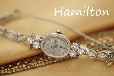 ハミルトン 14K ダイヤモンド アンティークカクテルウォッチ*2870hamilton
