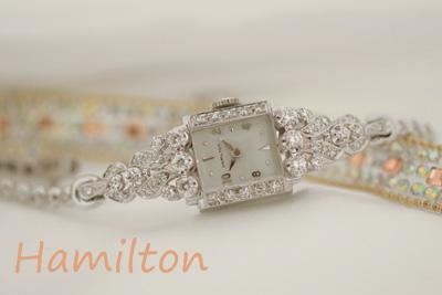 ハミルトン 14K 大粒ダイヤモンド アンティークカクテルウォッチ*2941hamilton