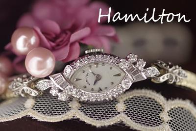 ハミルトン 14K ダイヤモンド アンティークカクテルウォッチ*2975hamilton