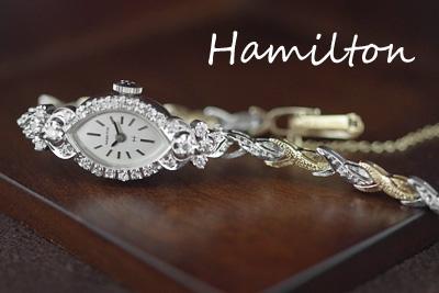 ハミルトン 14金ケース&ブレス 大粒ダイヤモンド アンティークカクテルウォッチ*3019hamilton