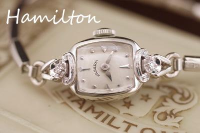 ハミルトン 14金ダイヤモンド お花のハミルトン アンティークカクテルウォッチ*3029hamilton
