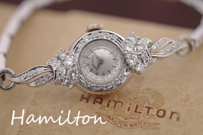 ハミルトン 14K 大粒ダイヤモンド アンティークカクテルウォッチ*3052hamilton