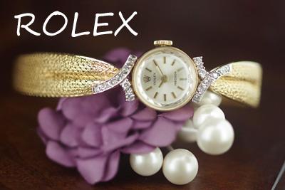 ロレックス 14金ケース&ブレス ダイヤモンド アンティークカクテルウォッチ*3061rolex