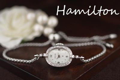 ハミルトン 14金ケース ダイヤモンド アンティークカクテルウォッチ*3098hamilton