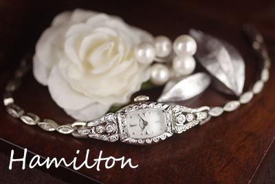 ハミルトン 14金ケース&ブレス 大粒ダイヤモンド アンティークカクテルウォッチ*3107hamilton