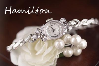 ハミルトン 14金ケース&ブレス 大粒ダイヤモンド アンティークカクテルウォッチ*3108hamilton