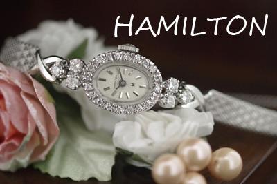 ハミルトン 14金ケース&大粒ダイヤモンド アンティークカクテルウォッチ*3110hamilton