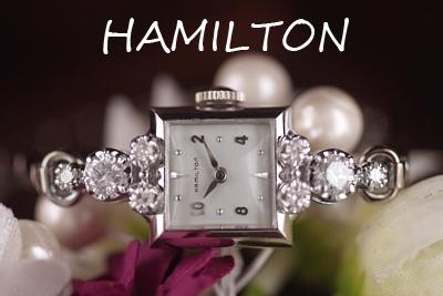ハミルトン 14金ケース 大粒ダイヤモンド アンティークカクテルウォッチ*3115hamilton