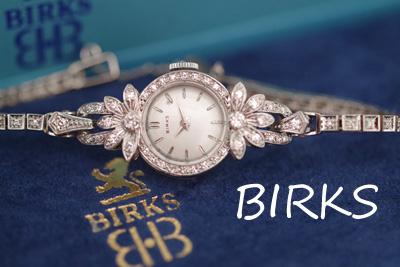 BIRKS プラチナケース&14金ブレス 大粒ダイヤモンド アンティークカクテルウォッチ*3133birks