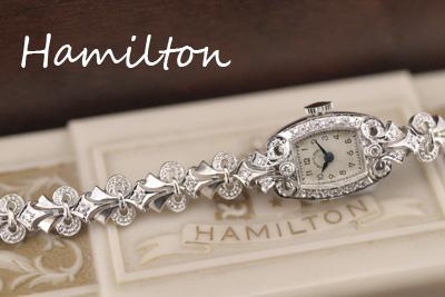 ハミルトン 14金ケース&ブレス ダイヤモンド アンティークカクテルウォッチ*3212hamilton